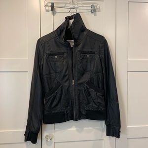 Faux Leather Bomber Jacket (M)